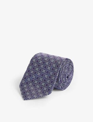 Eton Circled square-print silk tie