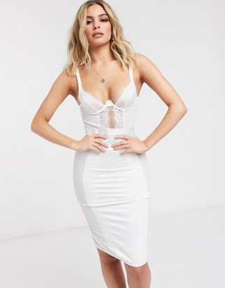 ASOS DESIGN Bridal Marcia underwire shaping slip dress with lace & mesh