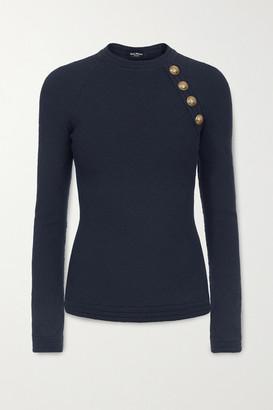 Balmain Button-embellished Jacquard-knit Sweater - Midnight blue
