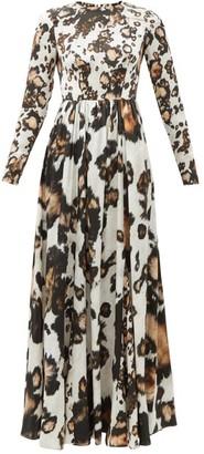 Edward Crutchley Animal-print Silk Midi Dress - Leopard