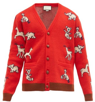 Gucci Animal-jacquard Wool-blend Cardigan - Red Multi
