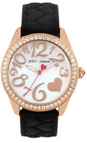 Betsey Johnson Quilted Heart Silicone Strap Black Watch