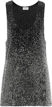 Saint Laurent Sequined stretch-jersey tank top