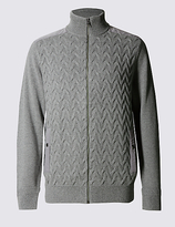 M&s Collection Pure Cotton Zip Through Cardigan