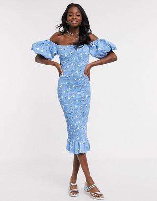 NEVER FULLY DRESSED off shoulder blouson sleeve shirred midi dress in blue floral print