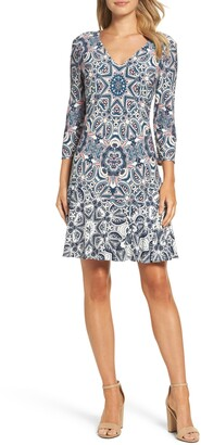 Eliza J Print Knit A-Line Minidress