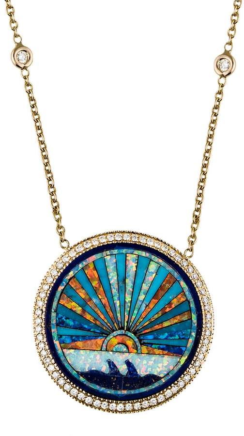 d766d55eb358b Small Opal, Lapis and Diamond Sunrise Necklace - Yellow Gold