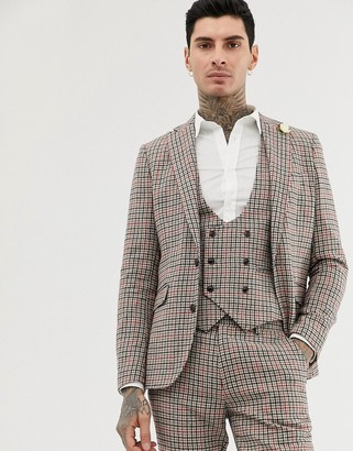 Gianni Feraud skinny fit small check suit jacket