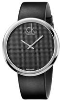 Calvin Klein SUBTLE POLISHED SS CASE, BLK DIAL, BLK LTHR, 46MM