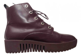 Opening Ceremony Burgundy Leather Ankle boots
