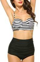 Ekouaer Vintage Women's Striped High Waist Push Up Bikini Set Bathing Suits (, M)
