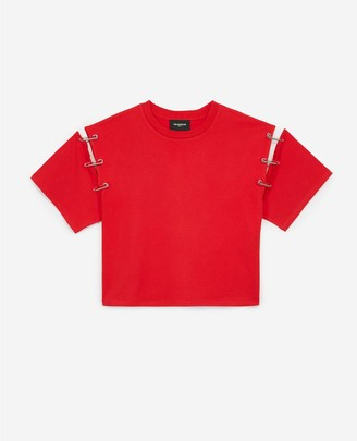 The Kooples Red rock T-shirt with lace sleeves