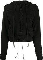 Unravel Project lace-up cropped hoodie