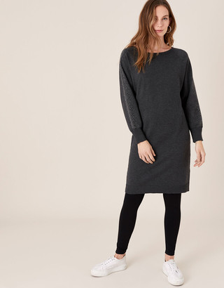 Monsoon Metallic Gem Sleeve Dolman Dress Grey