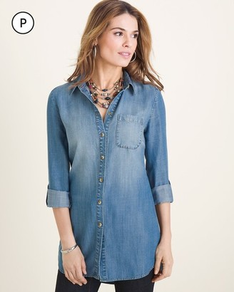 Chico's Petite Long Denim Shirt
