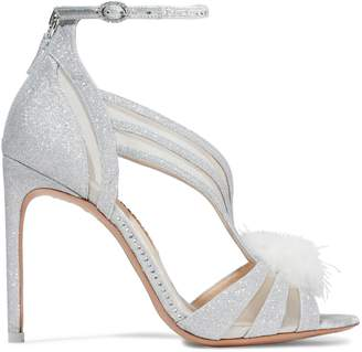 Sophia Webster Paola Feather-embellished Glittered Leather Sandals