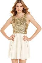 B. Darlin Juniors Dress, Sleeveless Metallic-Sequin A-Line