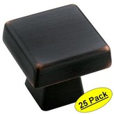 "Amerock BP55271-ORB Blackrock Collection Oil Rubbed Bronze Cabinet Hardware Knob - 1-3/16"" Square, 25 Pack"