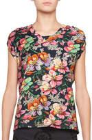 Isabel Marant Ravel Cap-Sleeve Aloha-Print T-Shirt