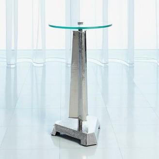 Global Views Glass Top Pedestal End Table