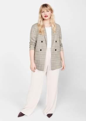 MANGO Violeta BY Double-breasted check blazer beige - L - Plus sizes