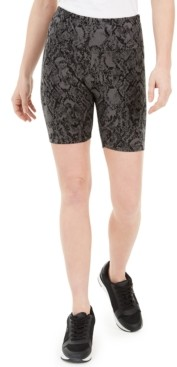 INC International Concepts Inc Women's Snake-Embossed Bike Shorts, Created for Macy's