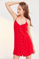 Ecote Gauzy Button-Front Racerback Mini Dress