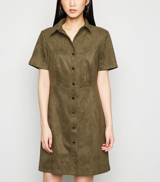New Look Suedette Button Front Shirt Dress