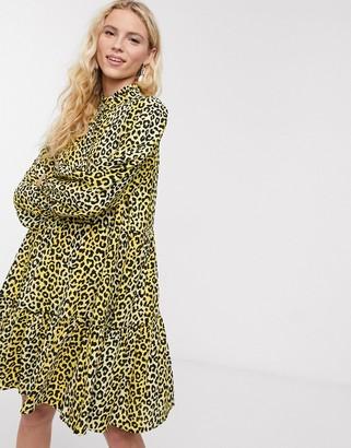 Notes Du Nord olivia leopard print mini shirt dress in lemon leopard