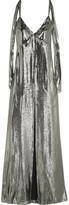Saint Laurent Silk-Blend Lamé Gown