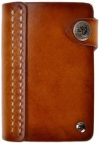 ZLYC Handmade Vegetable Tanned Leather Button Credit Business Card Holder Wallet Case