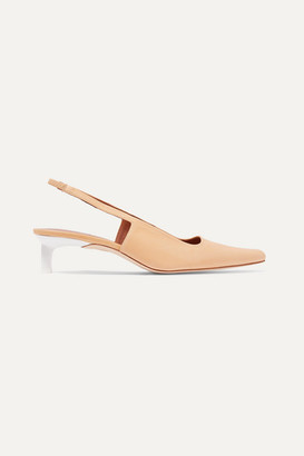 REJINA PYO Lois Leather Slingback Pumps - Peach