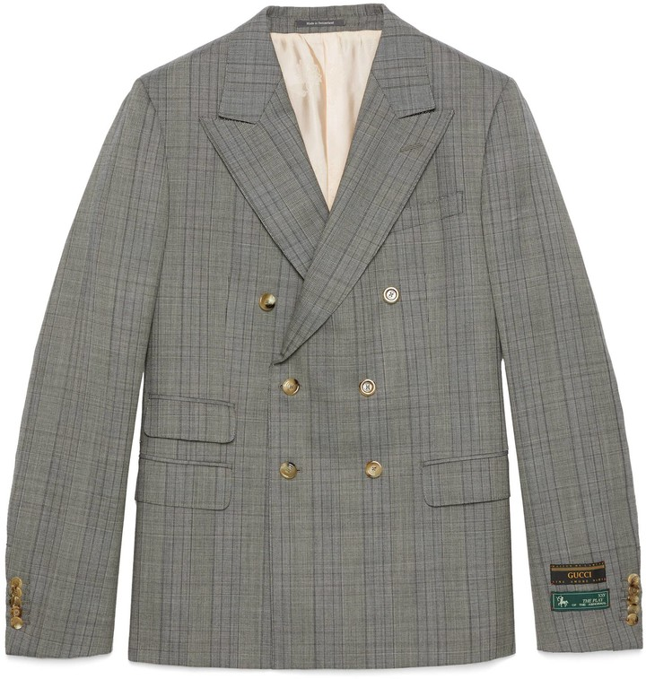 Gucci New Signoria check wool jacket with labels