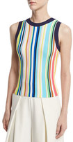 Milly Vertical-Striped Ribbed Shell, Multi