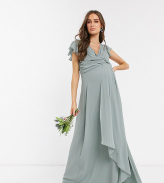 TFNC Maternity bridesmaid flutter sleeve ruffle detail maxi dress in sage