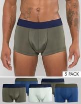 Asos Hipsters In Khaki Microfibre 5 Pack