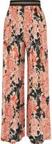 Just Cavalli Pleated printed crepe wide-leg pants