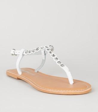 New Look Leather Gem Embellished Flat Sandals
