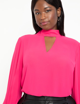 ELOQUII Dramatic Sleeve Blouse with Cutout