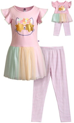 Dollie & Me Girls 4-10 Cat Multi Color Legging Set with Matching Doll Outfit