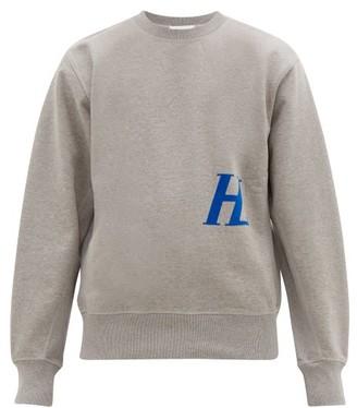 Helmut Lang Logo Applique Cotton Jersey Sweatshirt - Mens - Light Grey