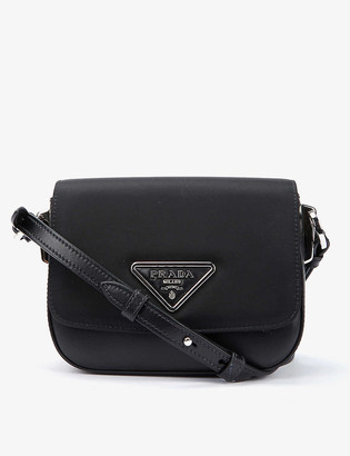 Prada Branded small leather and shell cross-body bag
