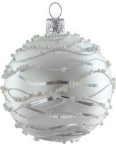 Christmas Shop Wave Pattern Shiny Silver Ornament
