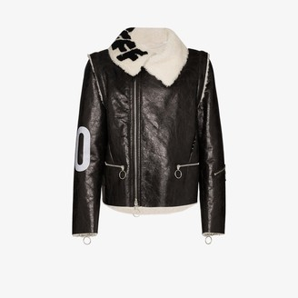 Off-White Target Shearling Leather Aviator Jacket