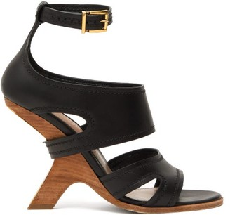 Alexander McQueen Curved-heel Leather Sandals - Black