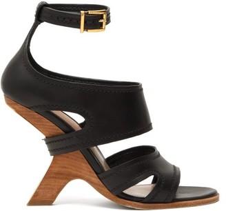 Alexander McQueen Curved-heel Leather Sandals - Womens - Black