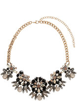 Yours Clothing Gold Jewelled Floral Statement Necklace