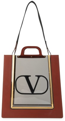 Valentino Garavani Reveal Leather-Trimmed PVC Tote