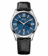 HUGO BOSS BOSS Ambassador Analog & Date Crocodile Leather-Strap Watch