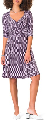 Leota Sweetheart Print Jersey Faux Wrap Dress